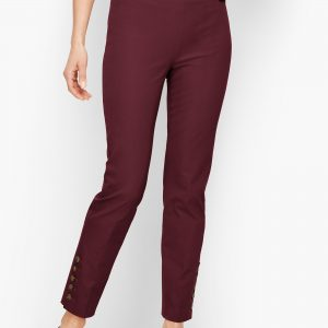 burgundy slim fit ankle pants for fall