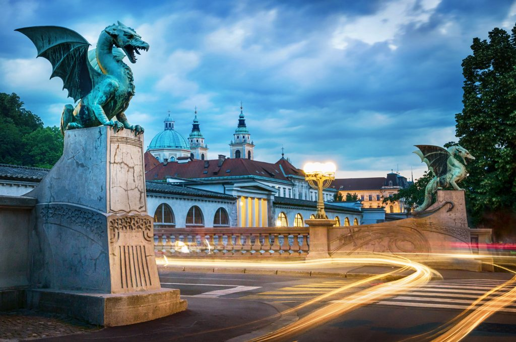 Dragon bridge (Zmajski most), symbol of Ljubljana, capital of Slovenia, Europe. budget travel to europe