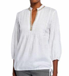 120 Lino Embellished Mandarin-Collar Drawstring Bottom Poet Shirt