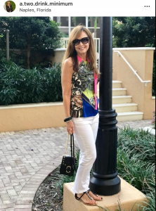 Scarf Print sleeveless top on Nancy Weiss' Instagram Feed