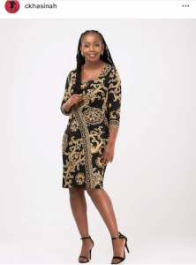 Black and gold scarf print dress
