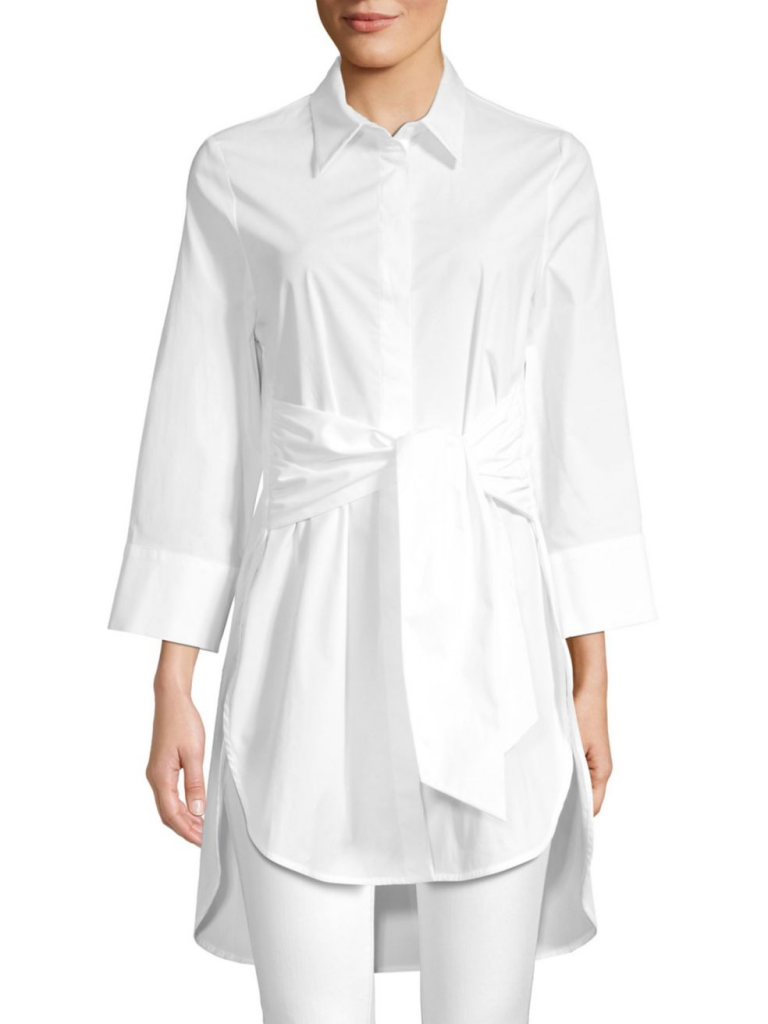 A longer, belted version of the Classic White Shirt