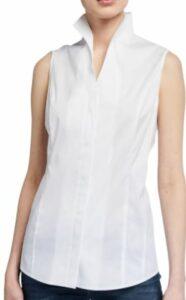Misook Sleeveless Stretch Cotton Button-Down Shirt