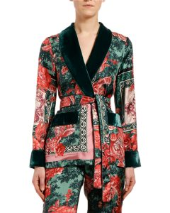 This scarf print blazer also has velvet embellishments.