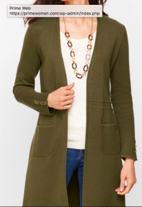 Long Open Olive Cardigan for Women