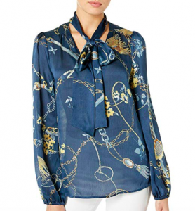 This scarf print blouse rocks a soft bow at the neck, too.