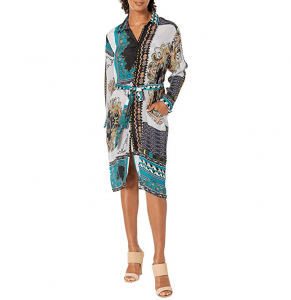 The Tolani Alice Dress is a bold scarf print.