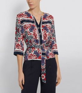 Some scarf print blouses have a satin sheen.