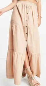 ASOS DESIGN tiered button front maxi skirt in tan