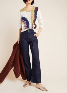 These denim trousers can work for business casual when paired with the right blouse.