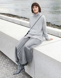 A monochromatic look with soft edges can be chic for the office.
