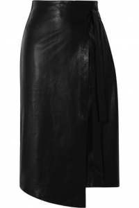 Leather wrap skirts offer another way to style this material