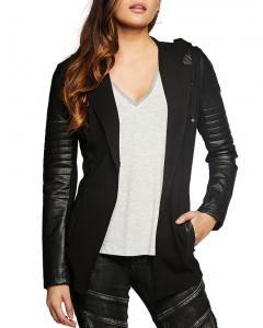 Moto jackets borrow from menswear but give women a feminine shape.