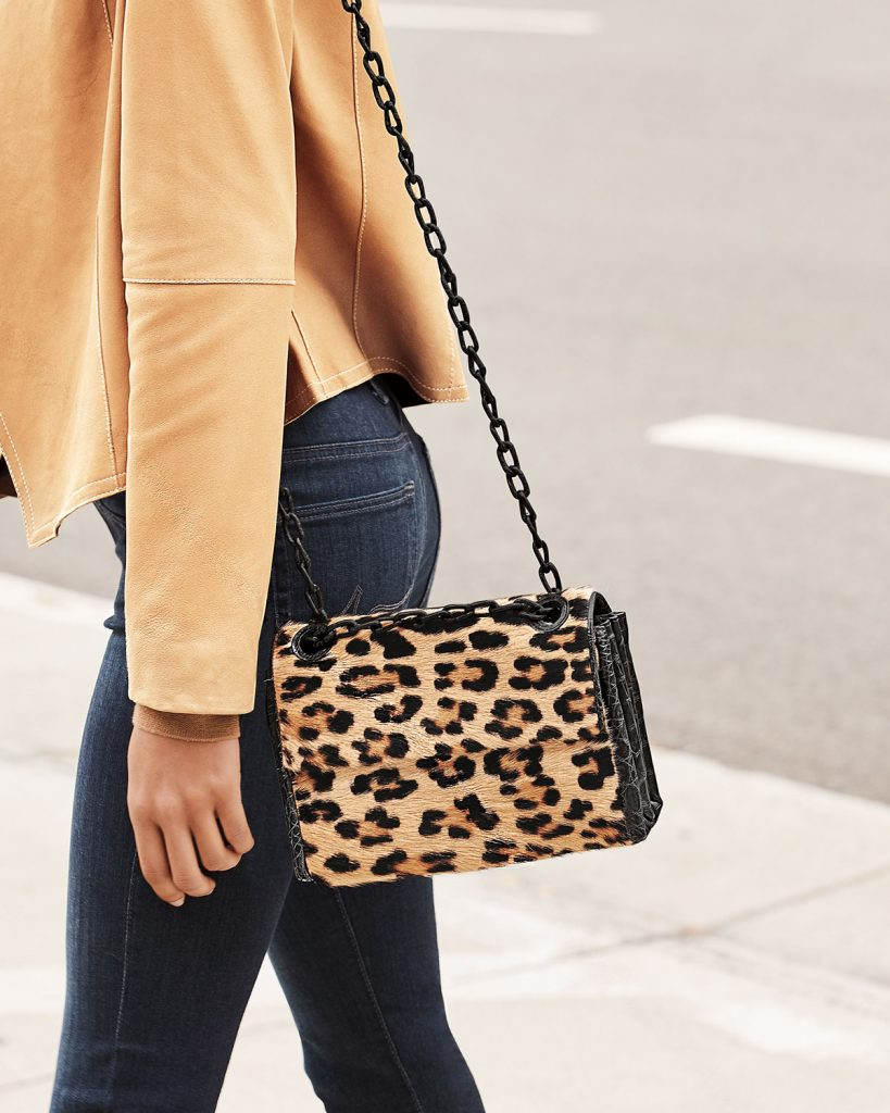 Nancy Gonzalez Madison Small Leopard Flap Shoulder Bag adds animal prints to your fall wardrobe