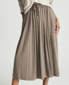 Reiss Ariella Fine Jersey Pleated Midi Skirt