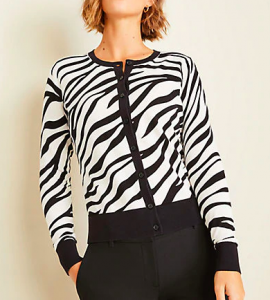 zebra is a good statement cardigan for women