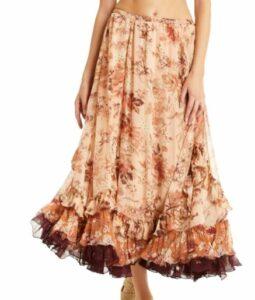 Secret Mission Janet Crinkle Chiffon Maxi Skirt