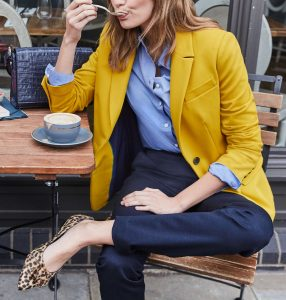 Business Casual has flair with this saffron colored jacket.