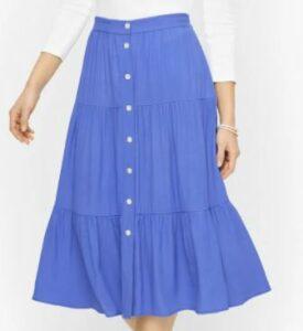 Talbots Flowy Tiered Button Down Skirt