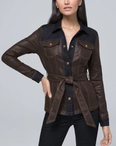 This coated denim jacket can work in a business casual look.
