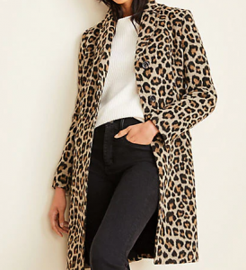 This leopard print coat adds fun flair to a business casual look.