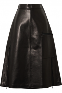 The pocket on this stylish leather A-Line skirt adds a unique detail.
