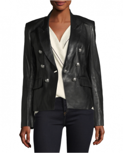 the button details on this leather blazer add a fun detail.