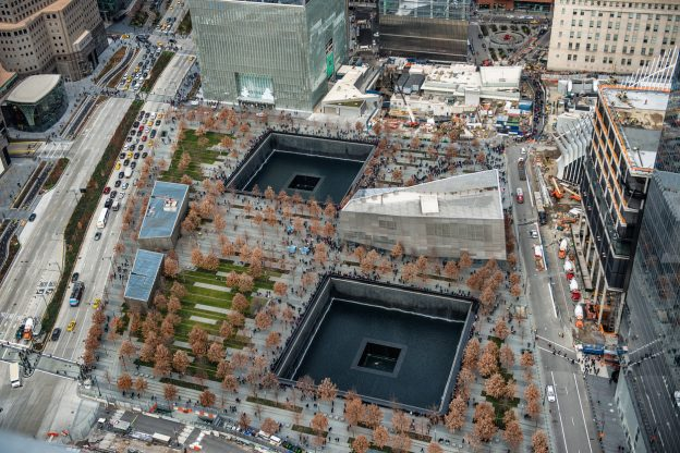 The 9/11 memorial in New York City stands as a reminder of the attacks, which caused PTSD for many Americans.