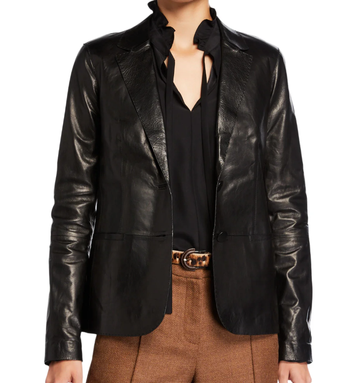 everyone should have a leather blazer in their fall collection, like lafayette 148 New York Two-Button Glazed Weightless Lambskin Jacket