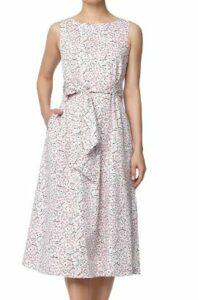 Anne Klein Floral Stretch Cotton Midi Dress