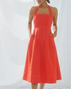 Maeve Alessandra Cross-Back Midi Dress