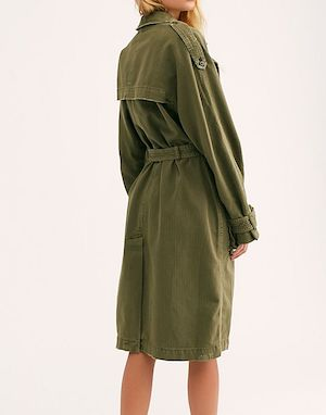 Olive trench coat in cotton