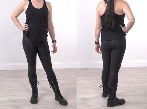 Spanx leggings as seen from the front and back in studio