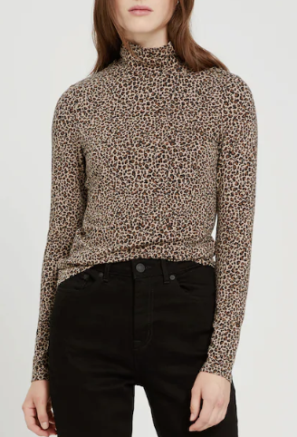 Frank and Oak Leopard Printed Long-Sleeved Mockneck in Brown