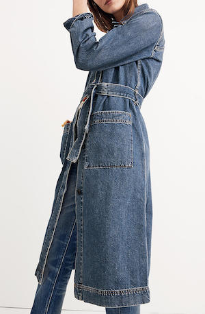 A denim trench duster at Madewell