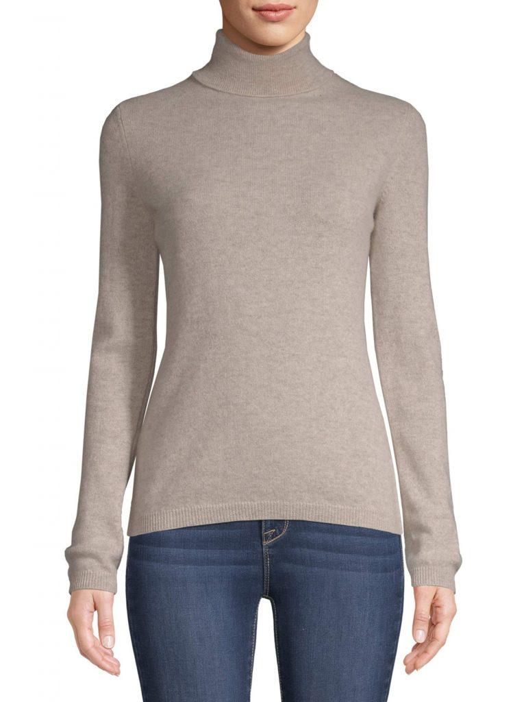 Saffron Womens Cashmere Turtleneck Sweater