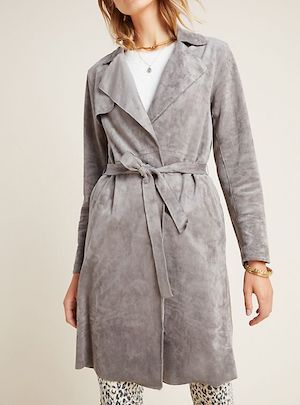 Sueded Gray Belted coat