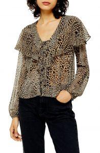 Nordstrom Leopard Print Sheer Top