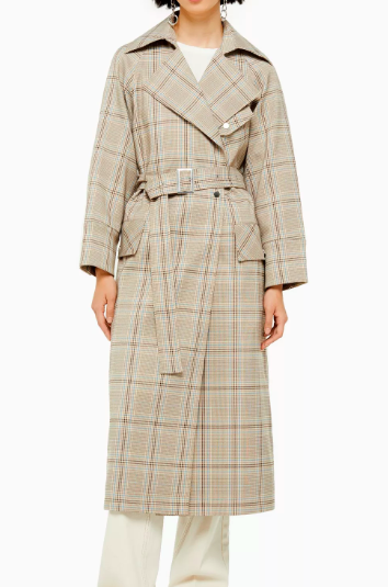Plaid trench available in US or UK
