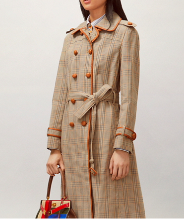 Plaid trench coat with orange piping