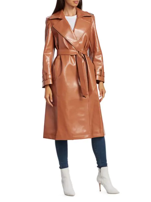 Vegan leather trench coat with a 70s vibe
