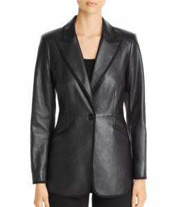 This leather blazer will add texture and be a great addition to your investment clothing closet.
