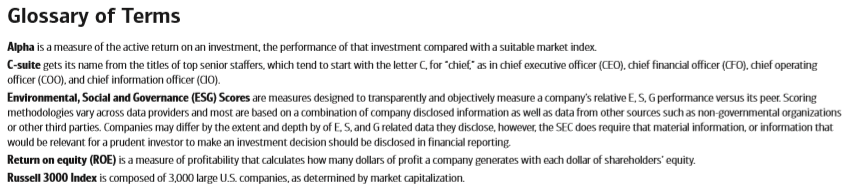 Gender Lens Investing: Glossary of Terms
