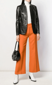 A leather blazer can be dressed up or down.
