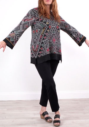 geometric print on one side of the reversible tunic sweater