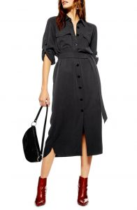 This shirtdress is a classic style.