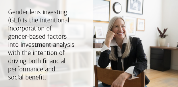 Gender Lens Investing is the intentional incorporation of gender-based factors into investment analysis with the intention of driving financial performance and social benefits.