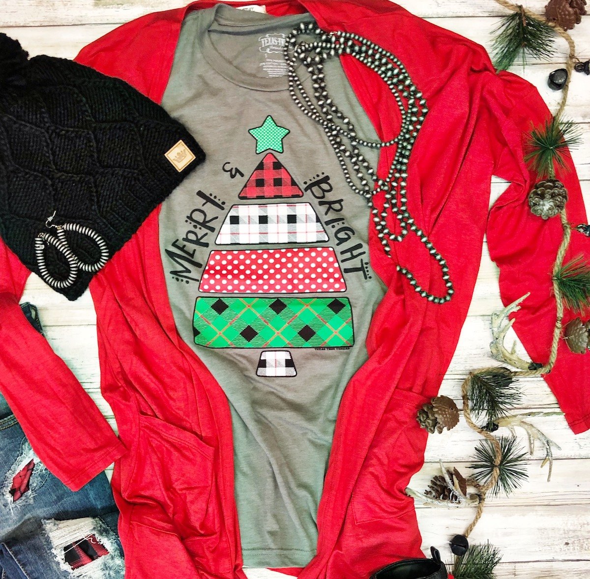 Christmas Graphic Tee and Cardigan by Texas True Threads at Horse Creek Boutique