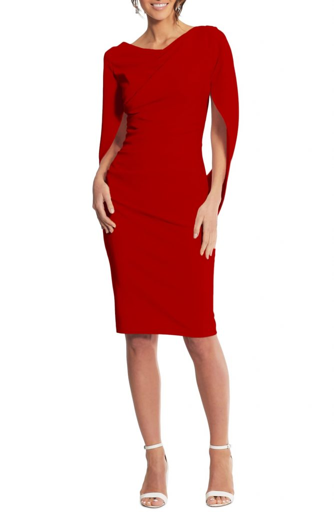 Red sheath dress for the holidays