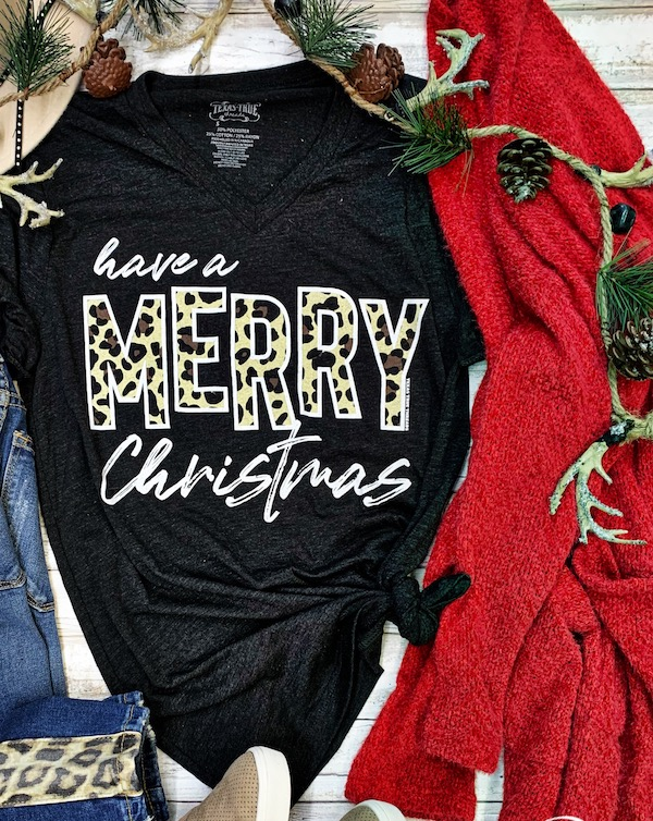 Leopard Christmas Graphic Tee by Texas True Threads